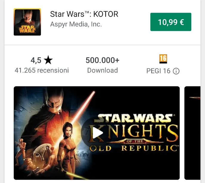 Star Wars Knights of the Old Republic mobile, recensione