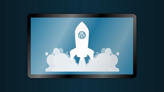 wordpress logo and rocket