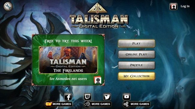 Talisman digital edition menu