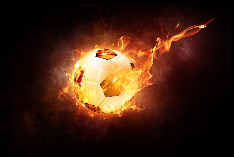 palla da calcio infuocata